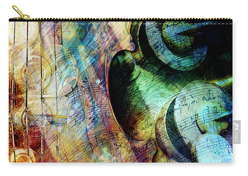 Strings Carry-all Pouch featuring the digital art Music II by Barbara Berney