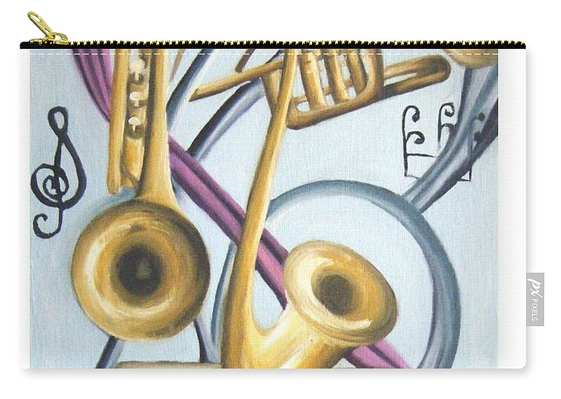 Abstract Paintings Carry-all Pouch featuring the painting Music by Olaoluwa Smith