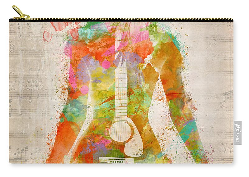 Guitar Carry-all Pouch featuring the digital art Music Was My First Love by Nikki Marie Smith