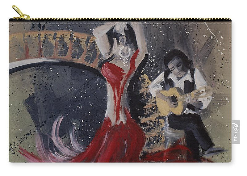 Dance Carry-all Pouch featuring the painting Musica Espaniol by Kelly Jade King