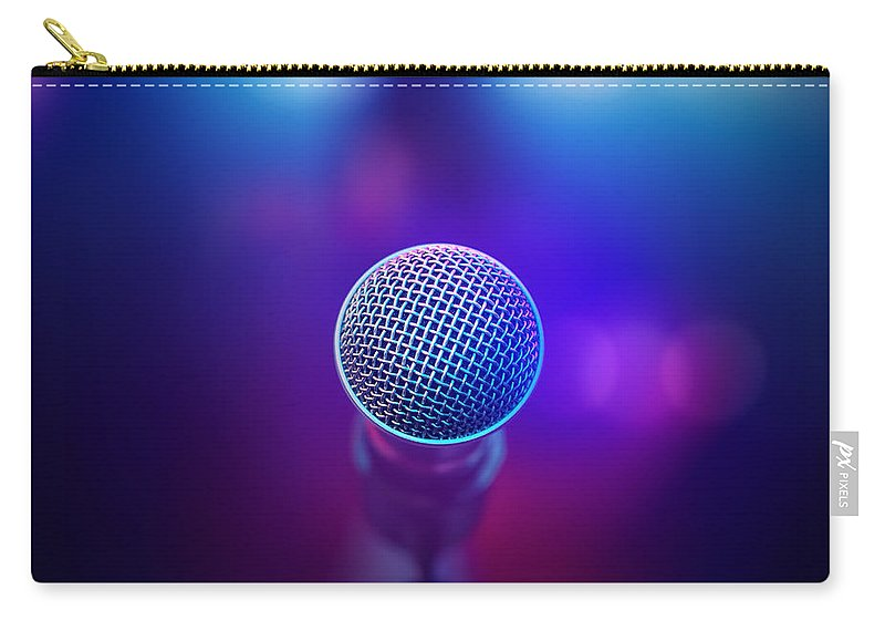 Microphone Carry-all Pouch featuring the photograph Musical Microphone On Stage by Johan Swanepoel