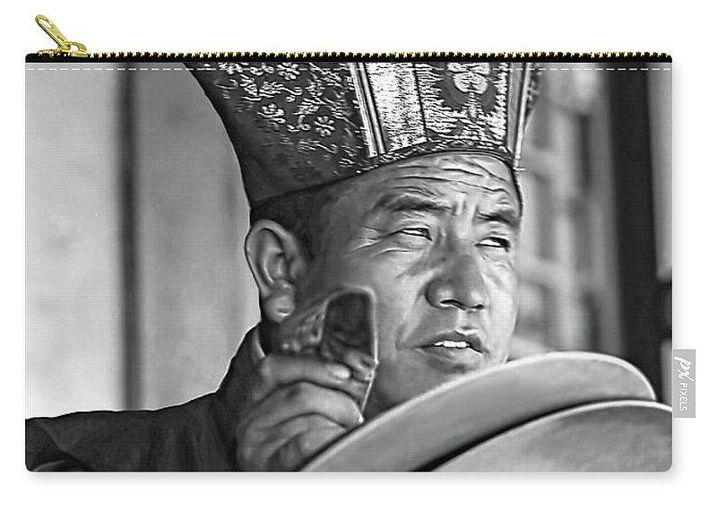 Buddhism Carry-all Pouch featuring the photograph Musical Monk Bw by Steve Harrington
