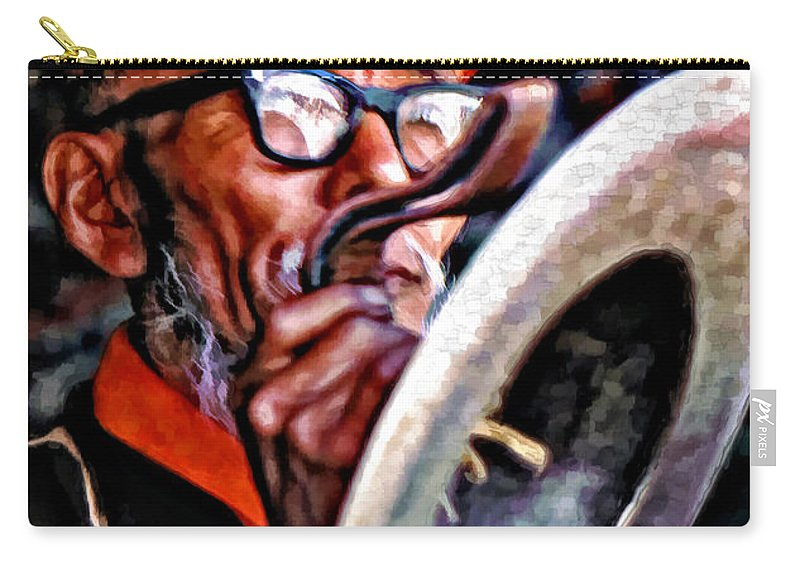 Buddhism Carry-all Pouch featuring the photograph Musical Monk Watercolor by Steve Harrington