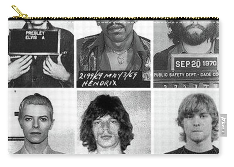 Jimi Hendrix Carry-all Pouch featuring the photograph Musical Mug Shots Three Legends Very Large Original Photo 6 by Tony Rubino