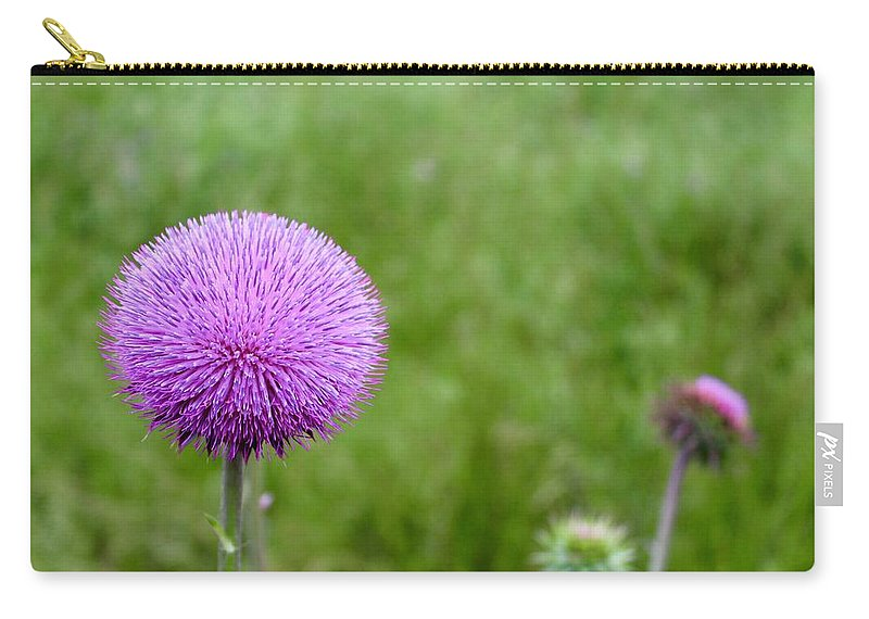 Photograph Carry-all Pouch featuring the photograph Musk Thistle Bloom Cycle by Mandy Elliott