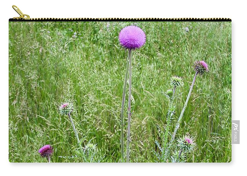 Photograph Carry-all Pouch featuring the photograph Musk Thistle In Full Glory by Mandy Elliott