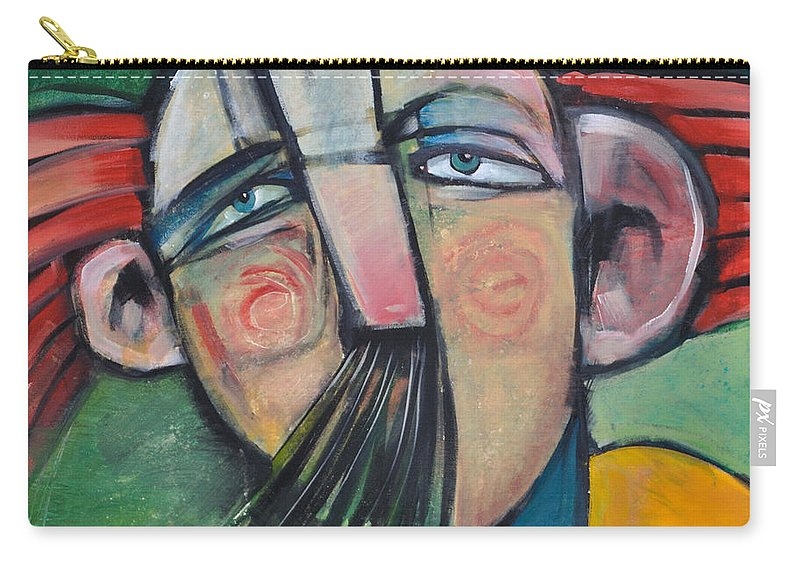 Humor Carry-all Pouch featuring the painting Mustached Man In Wind by Tim Nyberg