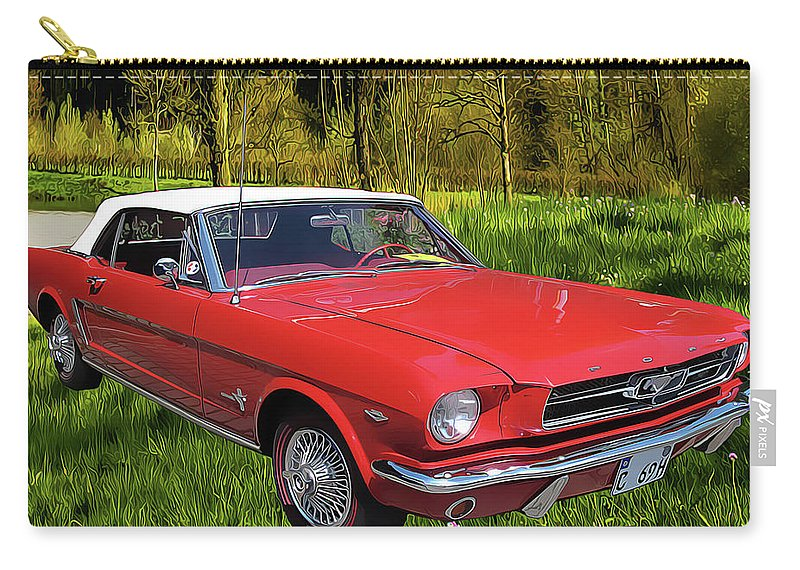 Mustang Carry-all Pouch featuring the painting Mustang by Harry Warrick