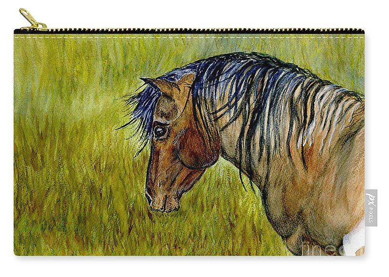 Horse Carry-all Pouch featuring the painting Mustang Stallion by Jim And Emily Bush