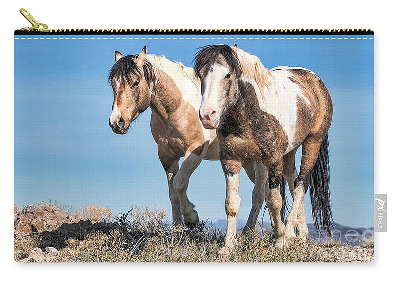 Horse Carry-all Pouch featuring the photograph Mustang Twin Stallions by Rob Daugherty