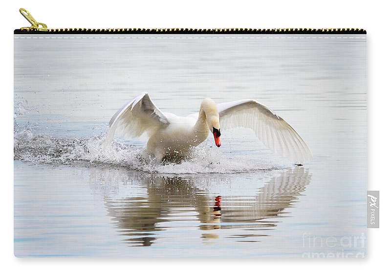 Mute Swan Carry-all Pouch featuring the photograph Mute Swan Landing I by Karen Jorstad