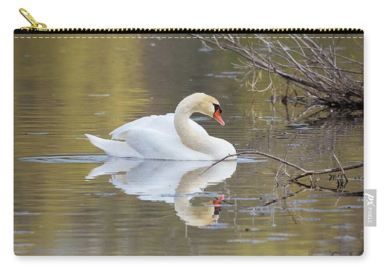 Mute Swan Carry-all Pouch featuring the photograph Mute Swan Reflection by Karen Jorstad