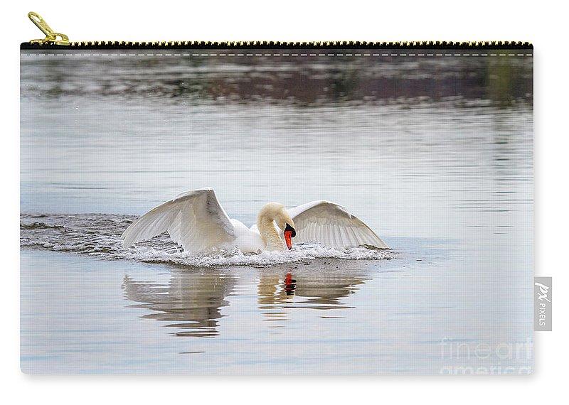 Mute Swan Carry-all Pouch featuring the photograph Mute Swan Swim by Karen Jorstad