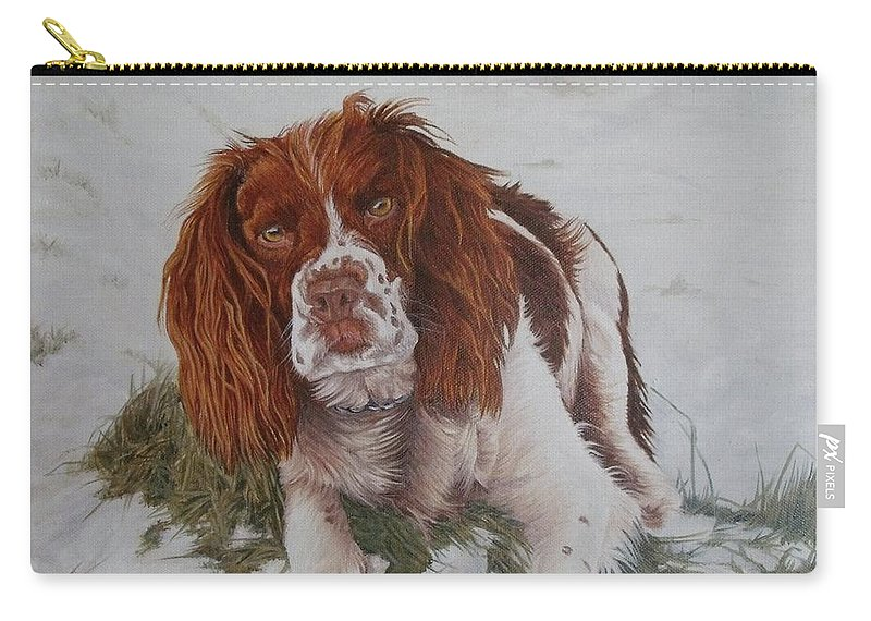 Dog Carry-all Pouch featuring the painting Muttley-the Best Springer Spaniel by Pauline Sharp