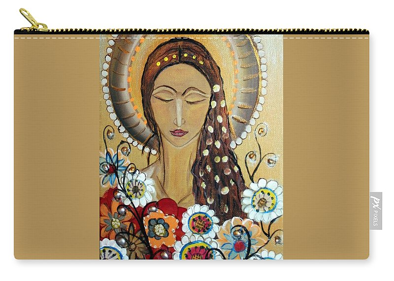 Art Carry-all Pouch featuring the painting My Angel Modern Icon by Luiza Vizoli