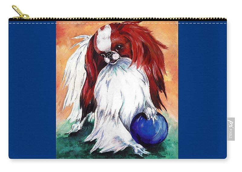 Japanese Chin Carry-all Pouch featuring the painting My Ball by Kathleen Sepulveda