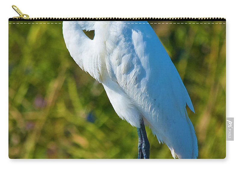 Great White Egret Carry-all Pouch featuring the photograph My Better Side by Betsy Knapp