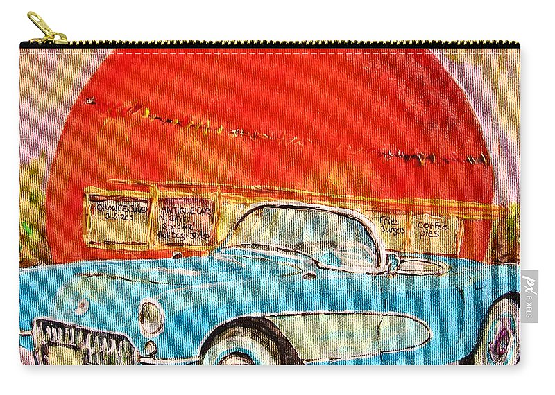 Montreal Carry-all Pouch featuring the painting My Blue Corvette at the Orange Julep by Carole Spandau