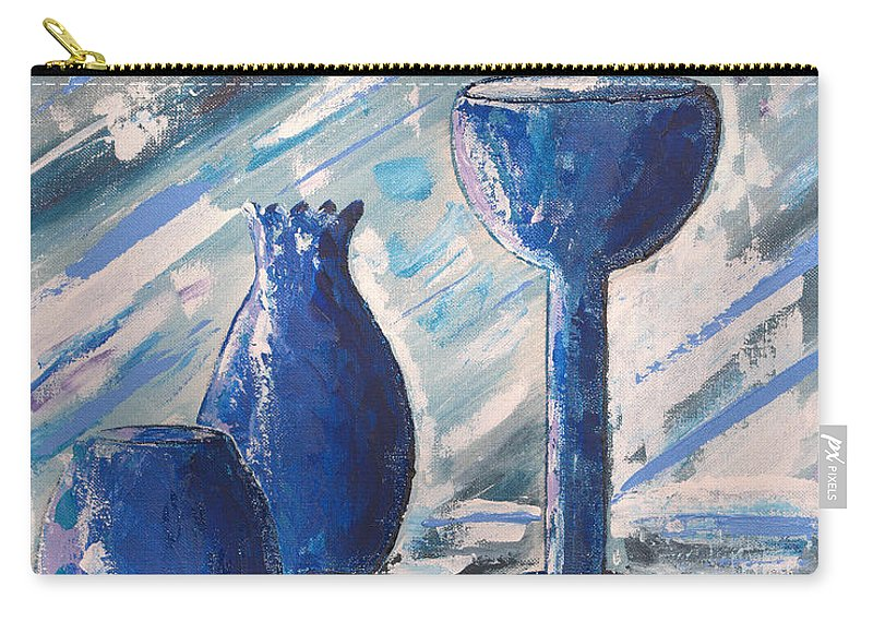 Vases Carry-all Pouch featuring the painting My Blue Vases by J R Seymour