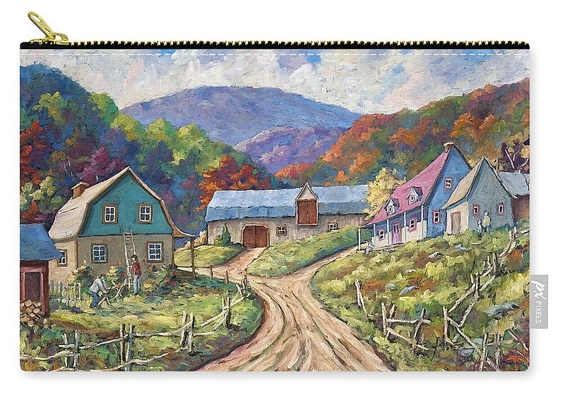 Country Carry-all Pouch featuring the painting My Country My Village by Richard T Pranke