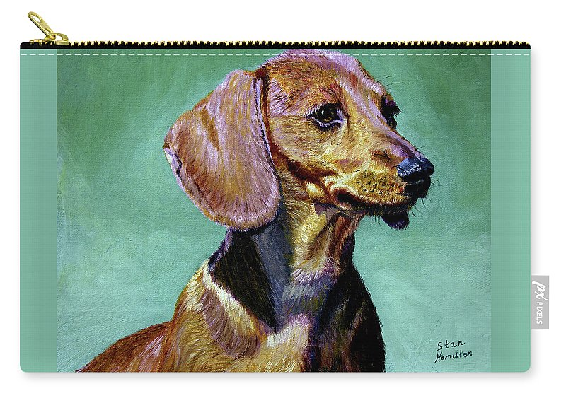Daschund Carry-all Pouch featuring the painting My Daschund by Stan Hamilton