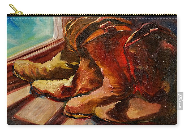 Boots Carry-all Pouch featuring the painting My Favorite Boots by Diane Whitehead