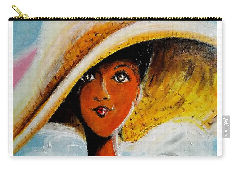 Straw Hat Carry-all Pouch featuring the painting My Favorite Straw Hat II by C F Legette