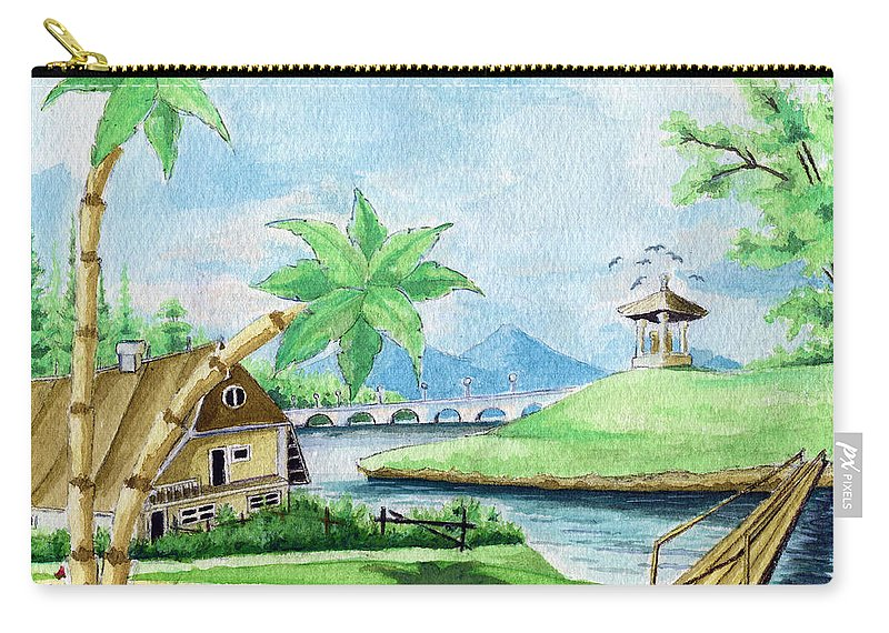 Landscape Carry-all Pouch featuring the painting My First Landscape Watercolor Painting At The Age Of 18 by Alban Dizdari