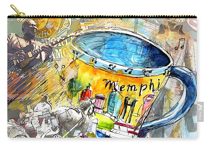 Coffee Carry-all Pouch featuring the painting My First Memphis Mug by Miki De Goodaboom