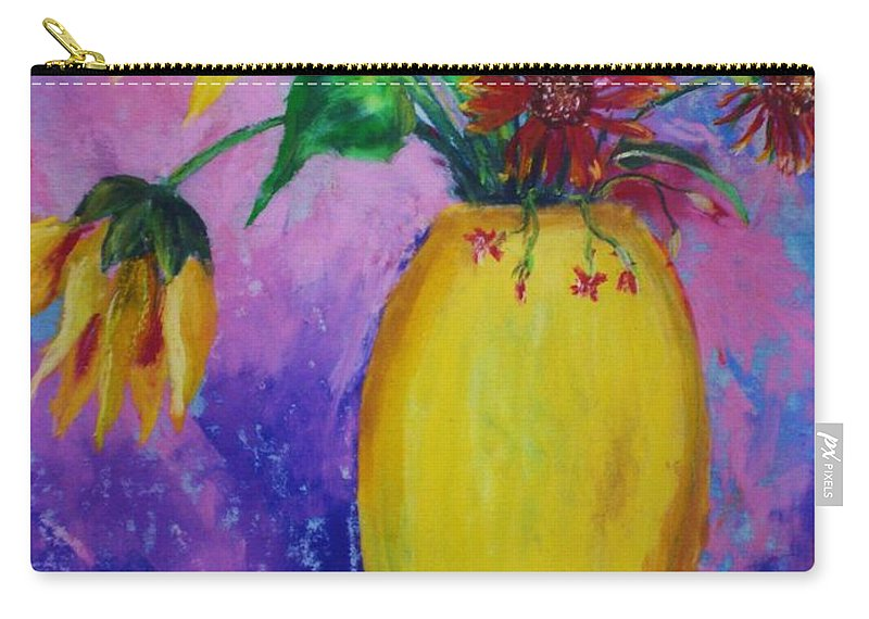 Sunflowers Carry-all Pouch featuring the painting My Flowers by Melinda Etzold