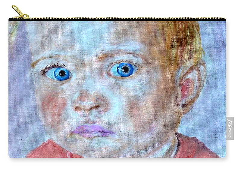 Leonie Carry-all Pouch featuring the painting My Granddaughter Leonie by Helmut Rottler