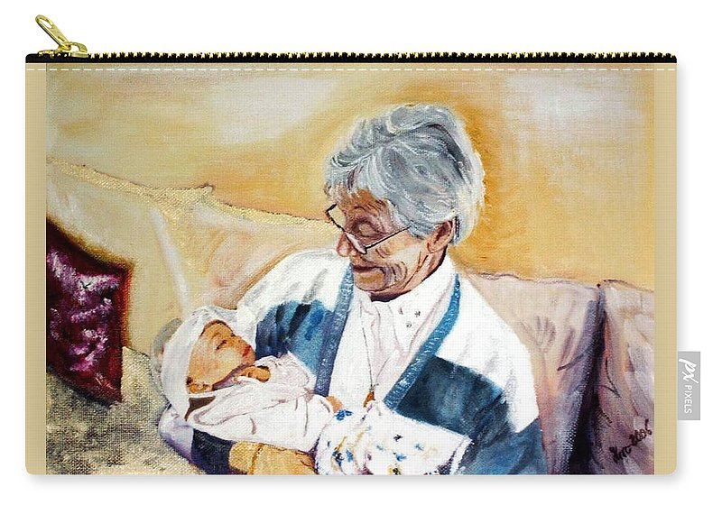 Portrait Carry-all Pouch featuring the painting my granddaughter Leonie with her great grandmum by Helmut Rottler