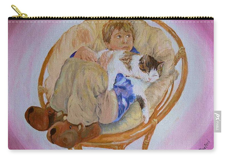 Portrait Carry-all Pouch featuring the painting my grandson Pascal with his cat Paul by Helmut Rottler