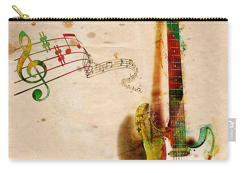 Guitar Carry-all Pouch featuring the digital art My Guitar Can Sing by Nikki Smith