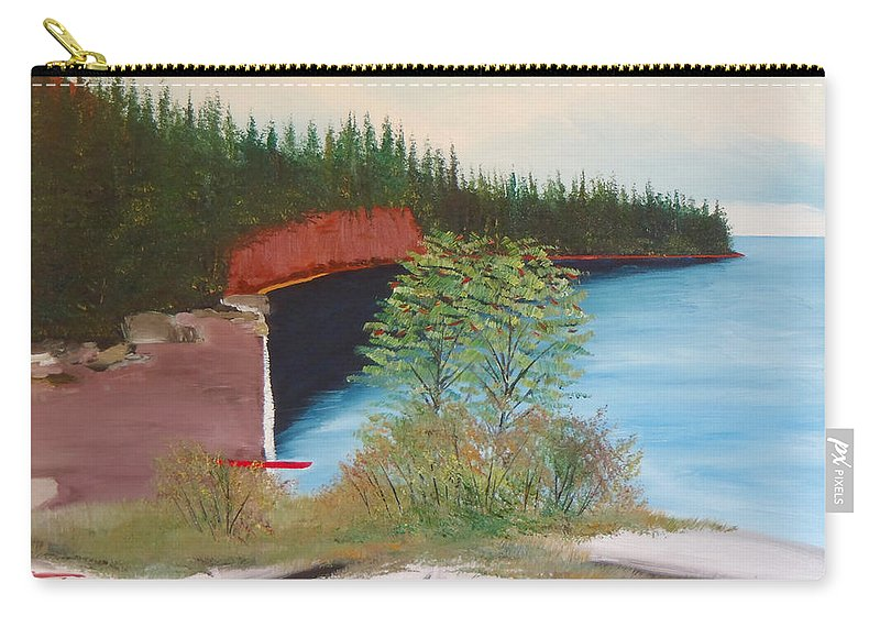 Split Rock Lighthouse State Park Sea Kayaking Paddling Paddle Two Harbors Minnesota Camping Fishing Boating Outdoor Recreation Carry-all Pouch featuring the painting My Kayak Sitting On The Beach At Split Rock by Troy Thomas