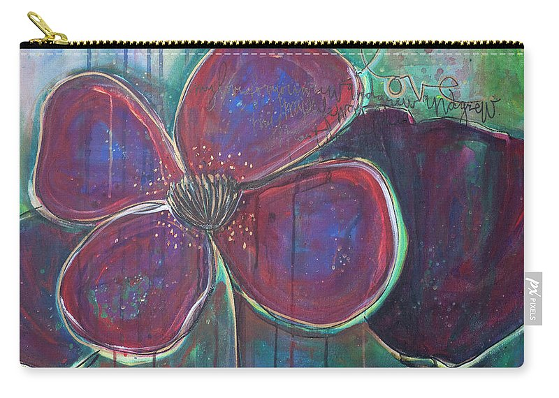 Poppies Carry-all Pouch featuring the painting My Love For You Grew And Grew by Laurie Maves ART