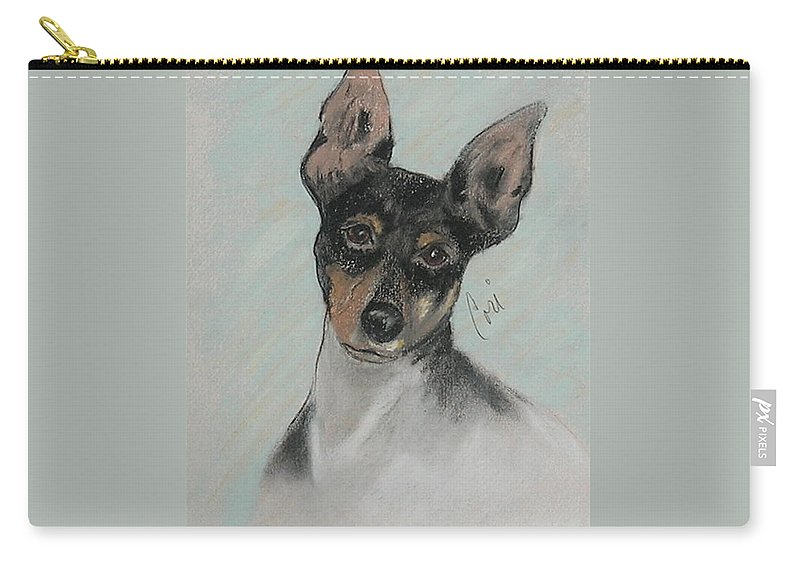 Toy Fox Terrier Carry-all Pouch featuring the drawing My Oh My by Cori Solomon