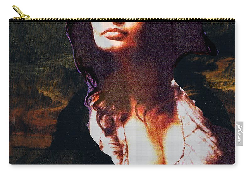 Mona Lisa Carry-all Pouch featuring the digital art My Real Mona Lisa by Seth Weaver