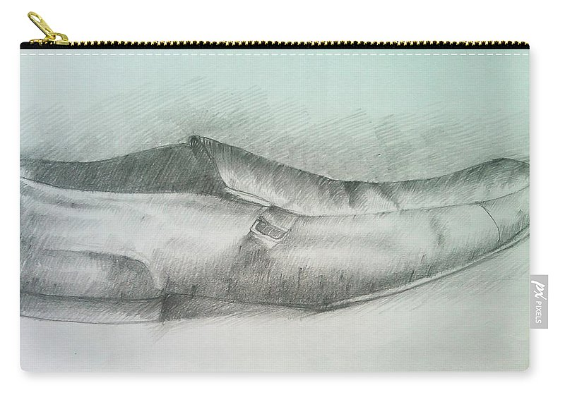 Drawings Carry-all Pouch featuring the drawing My Shoe by Olaoluwa Smith
