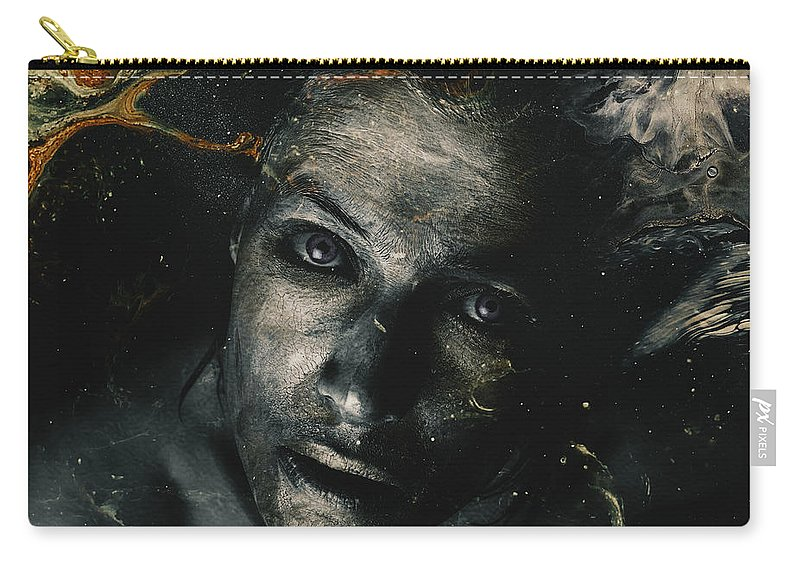 Mixed Media _ Photo Manipulation _ Dark _ Sad _ Eyes _ Golden Carry-all Pouch featuring the mixed media My Soul by Mohamed Said