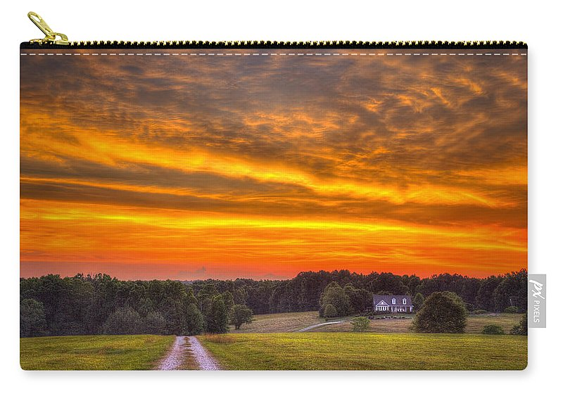 Reid Callaway My Strong Tower Sunset Carry-all Pouch featuring the photograph My Strong Tower by Reid Callaway