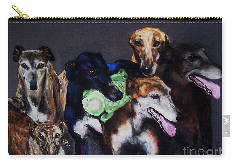 Greyhounds Carry-all Pouch featuring the painting My Teachers by Frances Marino