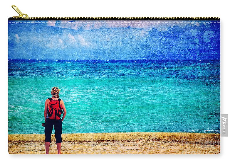 Sea Carry-all Pouch featuring the photograph My Thoughts Are Like Sea Waves by Silvia Ganora