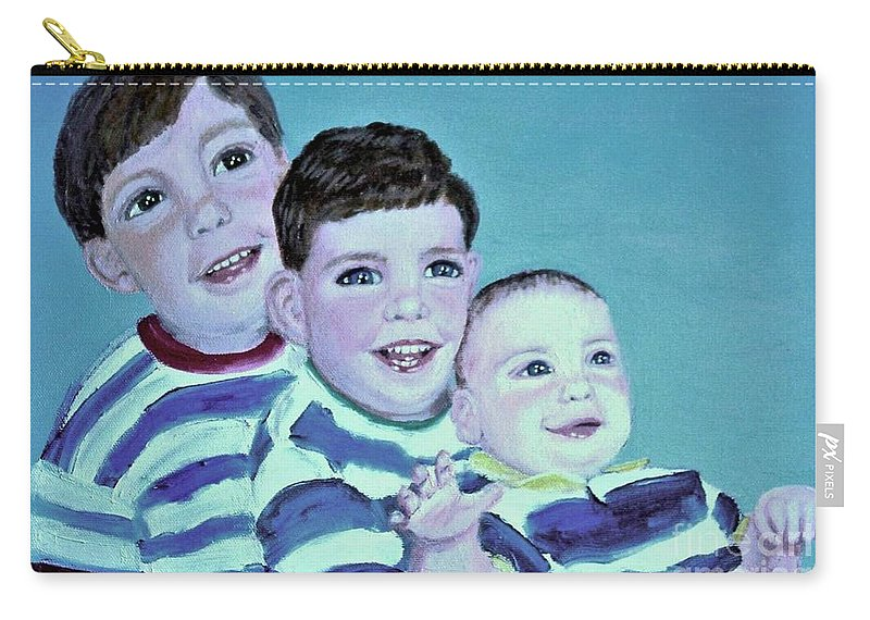 Children Carry-all Pouch featuring the painting My Three Sons by Laurie Morgan