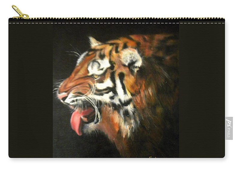 Tiger Carry-all Pouch featuring the painting My Tiger - The Year Of The Tiger by Jordana Sands