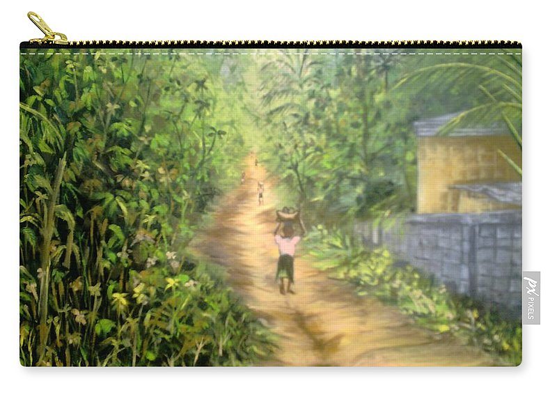 Culture Carry-all Pouch featuring the painting My Village by Olaoluwa Smith