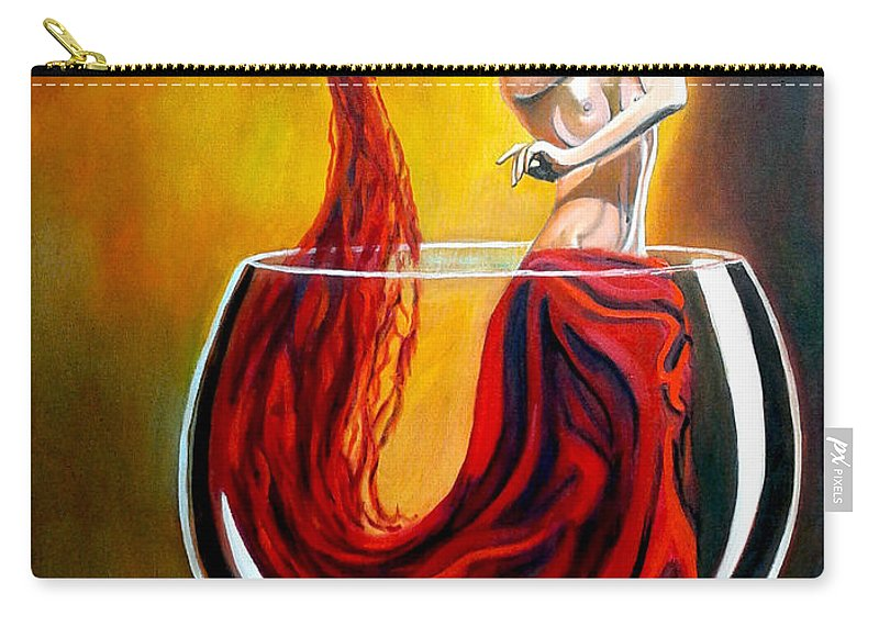Wine Carry-all Pouch featuring the painting My Wine Lady by Jose Manuel Abraham