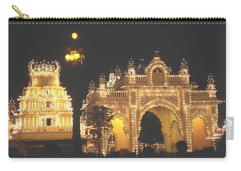 Mysore Carry-all Pouch featuring the painting Mysore Palace Main Gate Temple Gloriously Lit At Night by Usha Shantharam