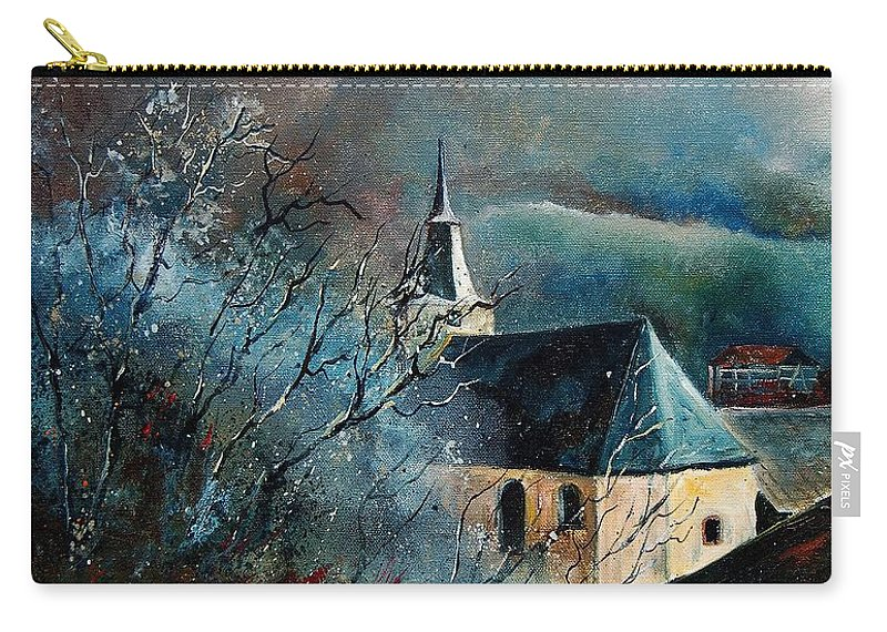 Tree Carry-all Pouch featuring the painting Mysterious Chapel by Pol Ledent