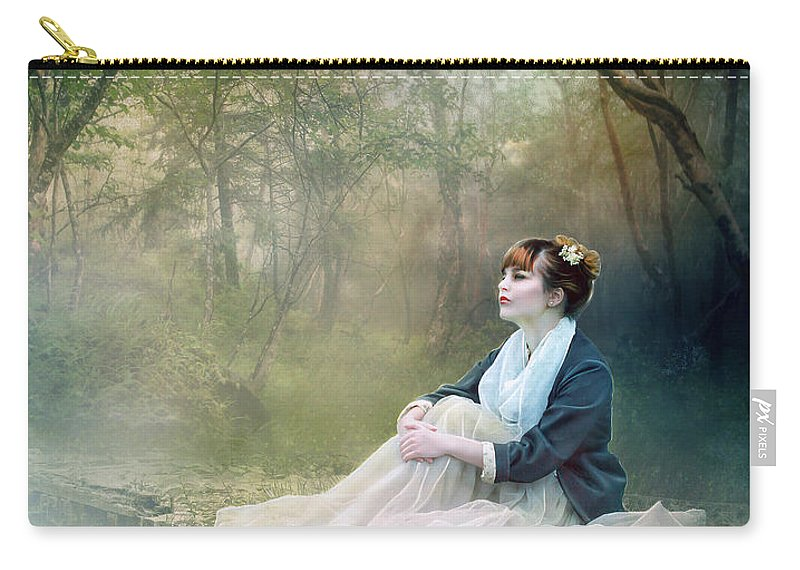 Mist Carry-all Pouch featuring the digital art Mystic Contemplation by Karen Koski